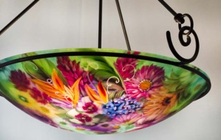 tropical garden reverse painted chandelier
