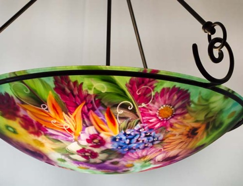 Enchanted Tropical Garden Reverse Painted Chandelier