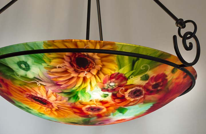 Purchase sunflower art light painted chandelier by artist jenny sunflower art light aloadofball Gallery