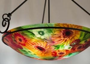 sunflower reverse painted light