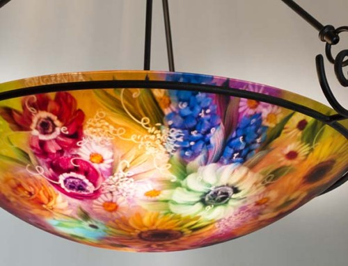 California Sunflower and Poppy painted glass chandelier
