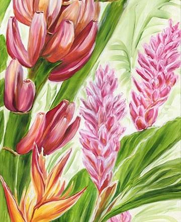 Maui banana and tropical flower painting