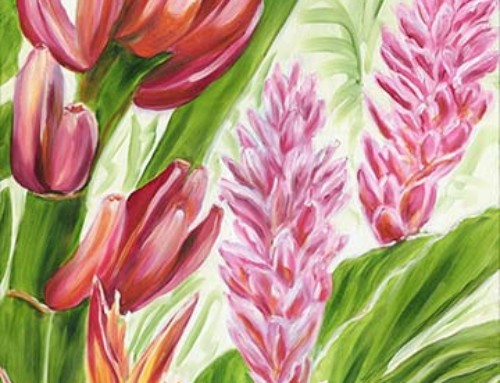 Colorful Maui Banana and Tropical Flower painting