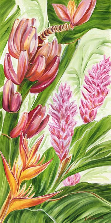 Maui banana and tropical flower painting