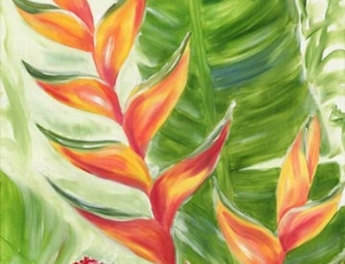 Tropical Hawaiian Torch Ginger and Orange Heliconia Flower painting