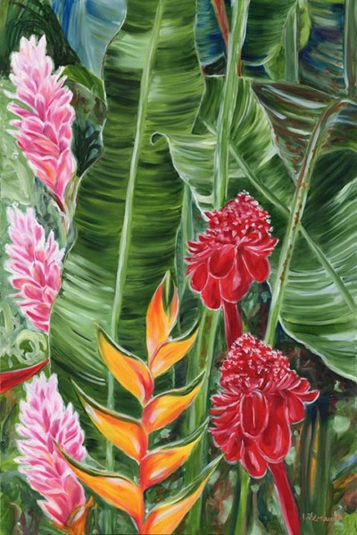 tropical Hawaiian leaves