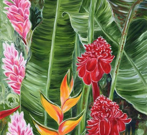 tropical Hawaiian leaves