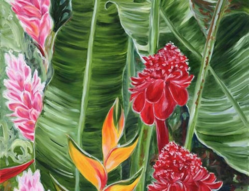 Dramatic Tropical Hawaiian Leaves and Maui Flowers oil painting