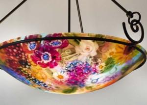 Vineyard Garden reverse hand painted glass chandelier