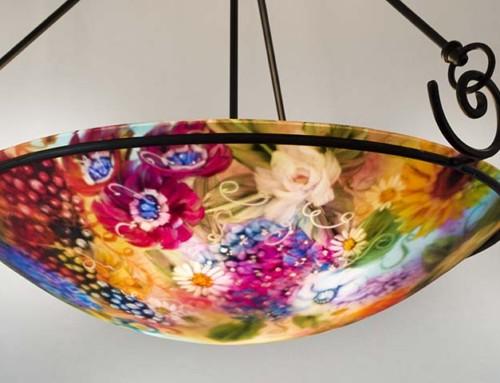 California Vineyard Garden reverse hand painted glass chandelier