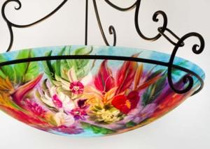 Maui island flower reverse hand painted glass chandelier