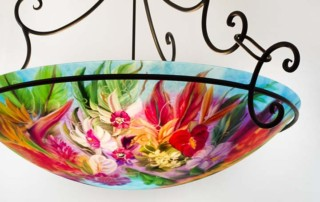 Maui island flower reverse hand painted glass chandelier