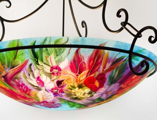 36 inch Maui Island Flower reverse hand painted glass chandelier