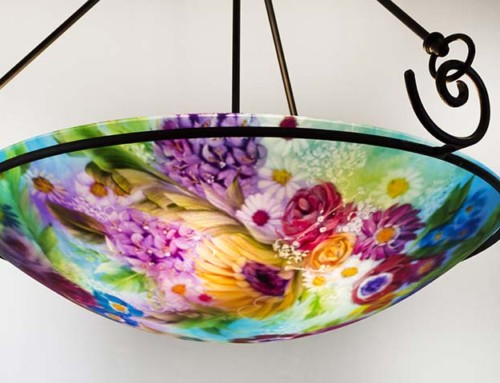 Ocean Blue Floral Reverse Hand Painted Glass Chandelier