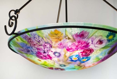 ocean colored hand painted chandelier