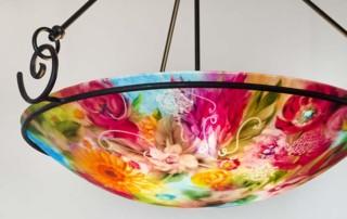 Flower Garden reverse painted chandelier