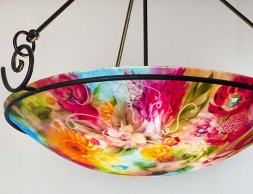 Beautiful Flower Garden reverse painted chandelier