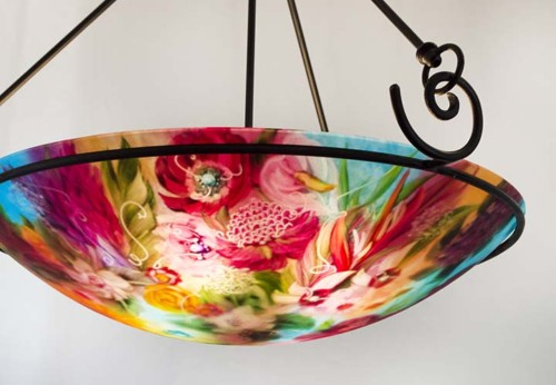 Flower hand painted ceiling light