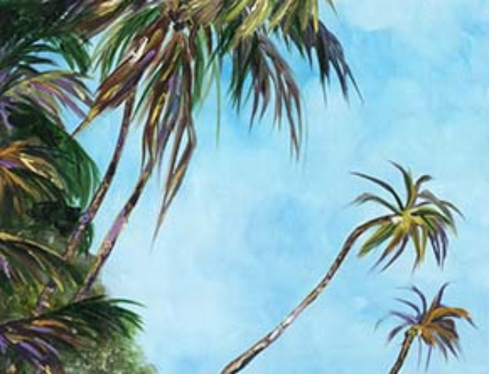 Windswept Hawaiian Beach with Wild Palms painting, 18×36 oil