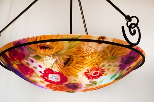 Tuscan flower reverse painted chandelier