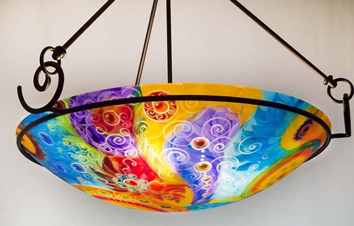 Summery aqua and tangerine abstract glass art chandelier inspired by summery aqua and tangerine abstract glass art chandelier inspired by the southwest aloadofball Images