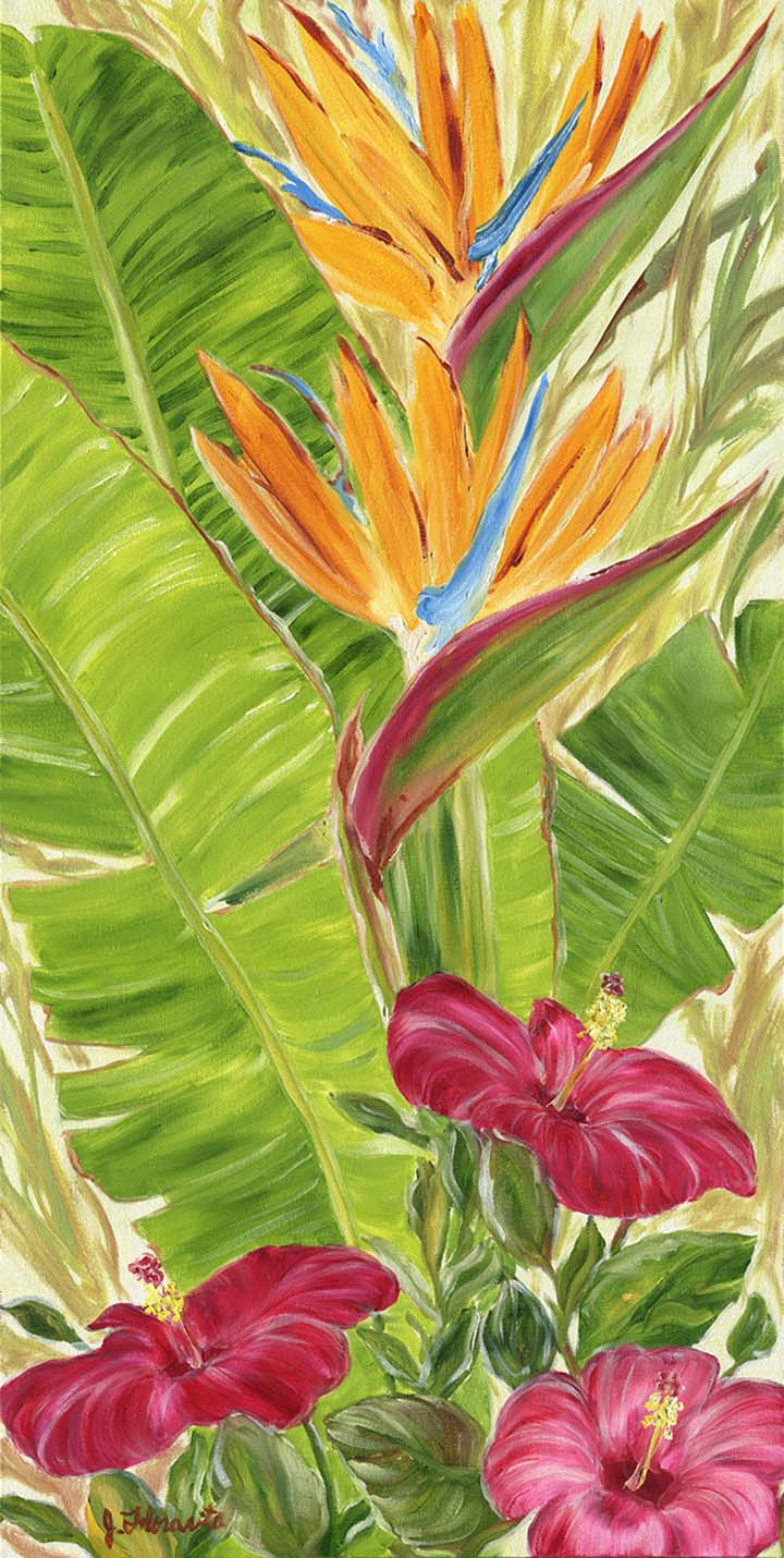 Hibiscus And Birds Of Paradise Painting Oil 18 36
