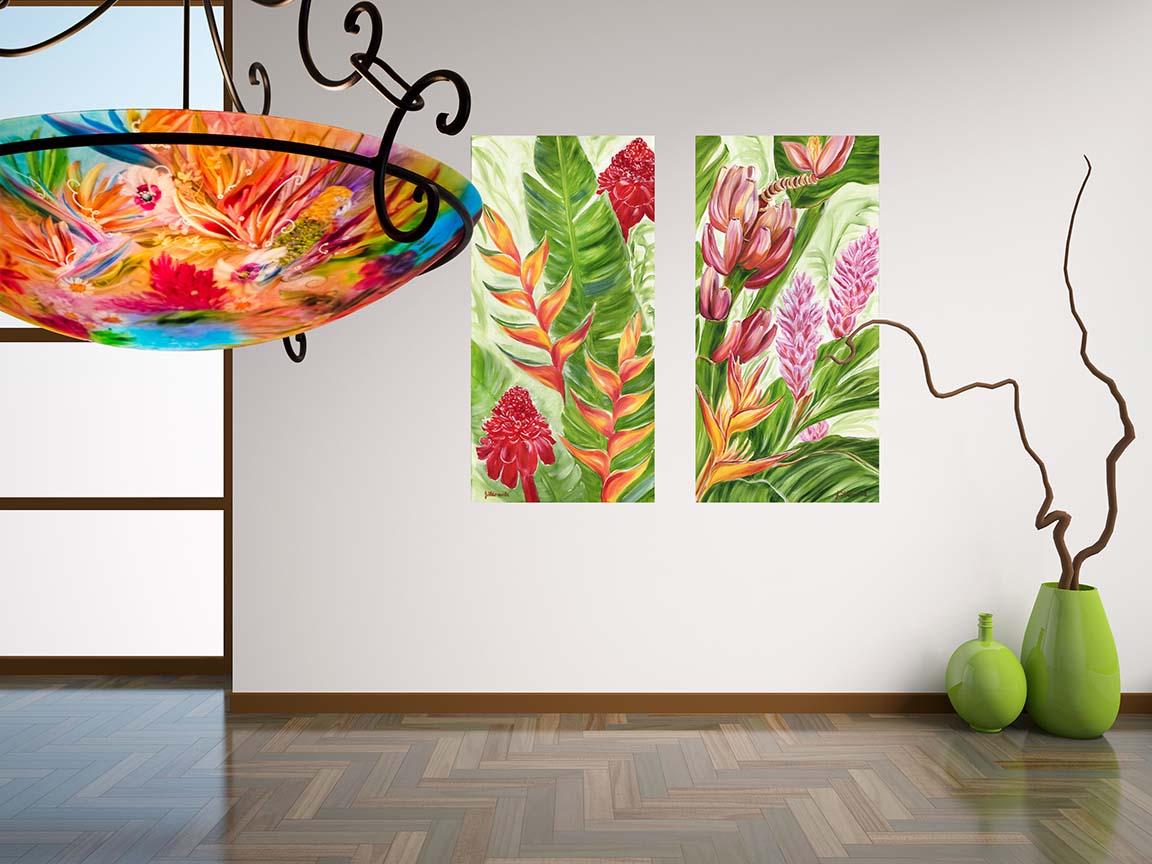 Modern Hawaiian Tropical Room Art And Chandelier By Jenny Floravita